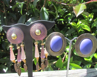 Clip on earrings,90s earrings, 90s clip ons, 1990s clip ons,lavender muted pink earrings, shield earrings, 2 pairs for one price. Free ship.