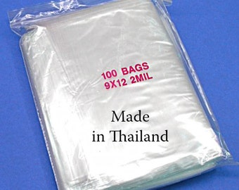 100 9x12 Bags - Resealable Zipper - Clear - 2mm thick