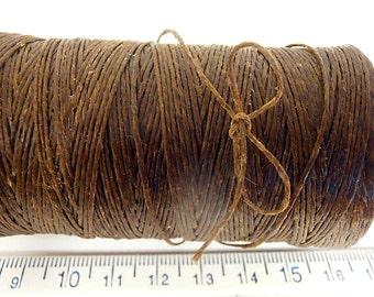 180 yd 3 Ply WAXED Linen - Dark BROWN Bead Cord - Thread  .4mm dia Spool