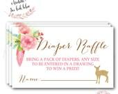 Deer Diaper Raffle // Diaper Raffle Ticket // Gold // Baby Shower // Birch Tree // Little Deer // Printed //  ASHEVILLE COLLECTION