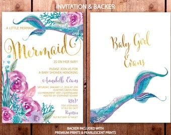 Mermaid Baby Shower Invitation, Purple and Teal Mermaid Baby Shower Invitation, Under the Sea Invitation, Girl, Gold - QUEENSLAND COLLECTION