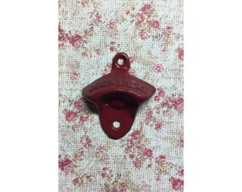 """Rustic Cast Iron /Metal Bottle Opener """"Open Here"""" Shabby Red ManCave Kitchen Porch Patio Boat Camper Soda Beer"""