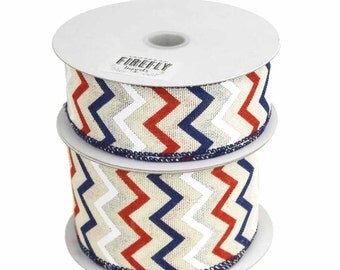 Chevron Canvas Ribbon Wired Edge, Ivory/Red/Navy, 10 Yards