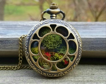 "23rd Psalm Pocket Watch Terrarium Necklace by Boomdyada. ""He makes me lie down in green pastures"", Terrarium Necklace, Scripture Necklace"