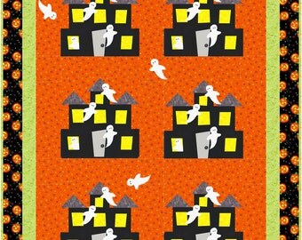 Haunted House ad Ghosts Halloween Quilt - INSTANT DOWNLOAD