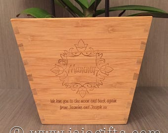 Personalised engraved bamboo plant pot, bespoke and perfect for Mother's Day, birthdays etc flower