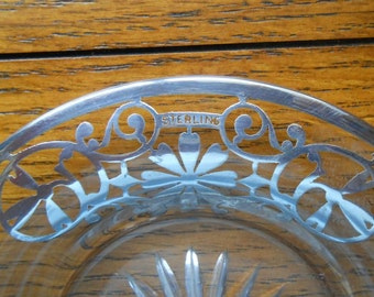 Sterling Silver Overlay Etched Glass Wine Bottle Coaster Or Pin Dish