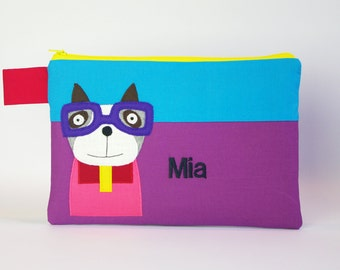 """Pencil case """"Dog with glasses and your name"""""""