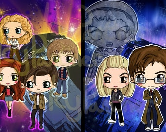 Doctor Who Chibi Print - Eleventh Doctor Chibi Print - Tenth Doctor Chibi Print - Weeping Angel, Tardis, Rose, River Song, Amy Pond, Rory