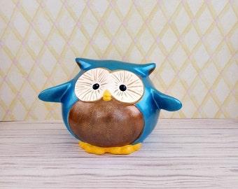 Teal Pudgy Owl Piggy Bank, Owl Piggy Bank, Piggy Bank, Bank, Baby Bank, Teal Piggy Bank, Owl Bank, Owl Nursery Decor, Owl Nursery