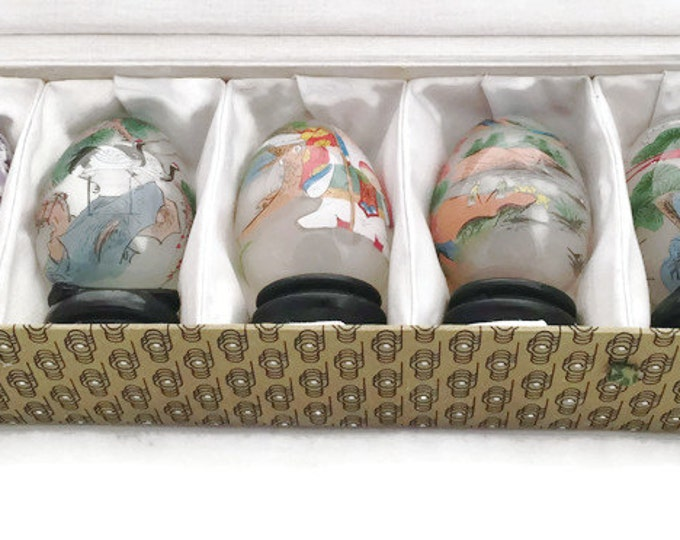 Vintage Reverse Painted Eggs - Set of 5 Chinese EGLOMISE Reverse Painted Eggs with Original Box,