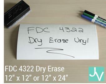 "Dry Erase / Whiteboard Vinyl FDC 4322 - 1 Sheet of 12"" x 12"" or 12"" x 24"""