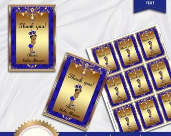 Printable Baby Shower Thank You Tags, Favor Tags, Prince Baby Shower, Royal Blue, Gold - DOWNLOAD Instantly, EDITABLE Text, Word Format