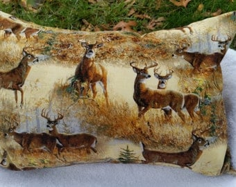 Dream Sleep pillow, herbal pillow, designed for men, boys, masculine woodsy deer printed fabric. Natural Greens and browns