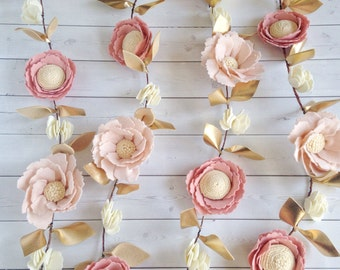 Pink and Gold Nursery Decor - Felt Flower Garland - Floral Nursery Decor - Girl Baby Shower Decor - Nursery Garland - Baby Shower Garland