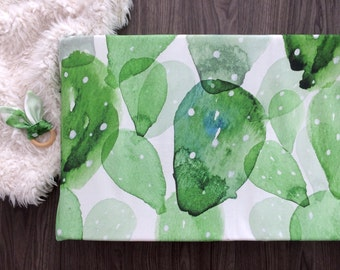 Changing pad cover. Green cactus watercolor prickly pear. Fitted changing pad cover. Gender neutral