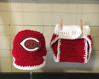Cincinnati Reds newborn hat and diaper cover, baby Cincinnati Reds hat and diapercover, Cincinnati Reds baby outfit, Reds newborn photo prop