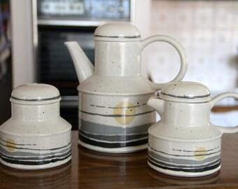 "Retro 1970's Midwinter Stonehenge ""Night ""  Coffee/tea  Pot  Sugar Bowl and Creamer"