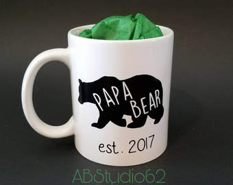 Papa Bear Mug, Preganancy Announcement, New Dad Gift, Dad to Be, Father's Day Gift, New Parent Gift Dad Pregnancy Reveal Coffee Mug