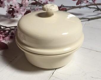 Sarreguemines French Vintage Ivory Stoneware Pot au Foie Gras, Terrine, Pâté Mould