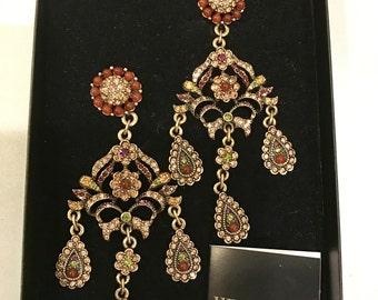 Vintage Heidi Daus Chandelier Earrings, 1980s stunning clip-on earrings