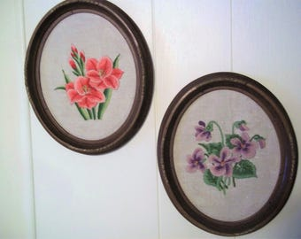 Pair of Vintage Crewel Embroideries in Oval Frames