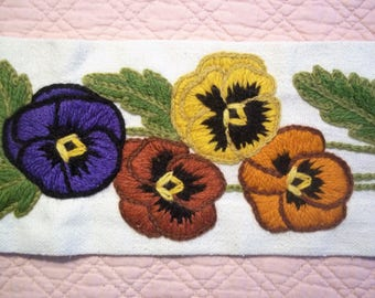 Very Long Hand Embroidered Pansy Hanging - Vintage