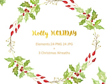 Holly holiday Watercolor clip art hand drawn. Winter watercolor, tender green branches, Poinsettia, post cards, wreath, arrangements.