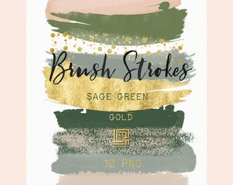 Sage green. Gold glitter.  Brush Strokes Clip Art . Watercolorclip art. Digital Design Resource.