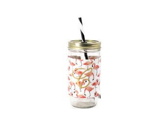 Pink Flamingo Mason Jar Tumbler, Monogram Mason Jar Cup, Gifts for Her, Unique Gifts, Gifts Under 25, Monogram Gifts, Personalized Gifts