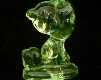 Vaseline Glass Snoopy Figurine
