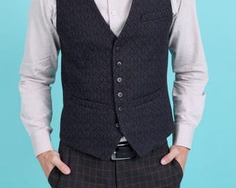 Men's slim vest waistcoat in black wool blend