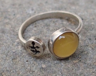 """Sterling Silver and Yellow Onyx with """"Leaves"""""""