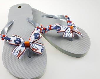 Women's Denver Broncos beaded flip flops