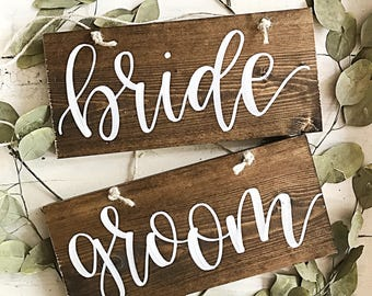 Sweetheart Table Signs | Chair Signs | Rustic Wood Wedding Signs | Bride and Groom Chair Signs | Wood Chair Signs | Hanging Chair Signs