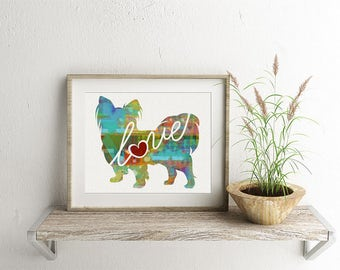 Papillon Love - A Colorful Watercolor Print for Dog Lovers - Dog Breed Gift - Can Be Personalized With Name - Pet Memorial - Pet Loss Gift