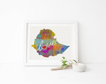 Ethiopia Love - Colorful Watercolor Style Wall Art Print & Home Country Map Artwork - Adoption, Moving, Engagement, Wedding Gift and More