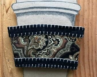 Wool Felt and Quilt Brocade Fabric Coffee or Tea Sleeve Cozy