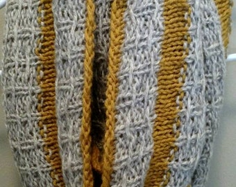Grey and Yellow Hand Knit Long Cowl
