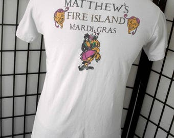 Matthew's Fire Island Mardi Gras vintage white t shirt by Fruit of the Loom USA Large L tee 90's