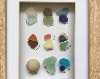 Sea glass art, Scottish seaglass colours, beach glass colour chart, wall art