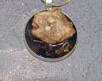 Geode crystal and Smoky Quartz necklace