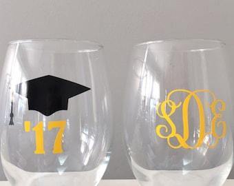 Graduation Wine Glass,  Graduation Gift, College Graduation Gift, Class of 2018, Wine Glasses for Graduation