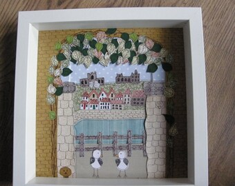 whitby abbey, paper collage art, quirky art, folk art, naive art, primitive art, view through a tunnel box framed place picture