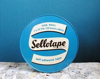 Vintage round Sellotape tin.