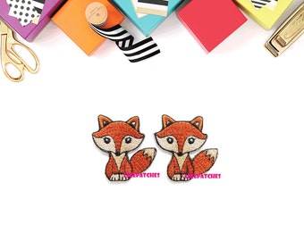 IRON ON PATCHES - Set 2pcs. Super Cute Little Brown Fox New Iron On Patch Embroidered Applique Size 3.6cm.x3.7cm.