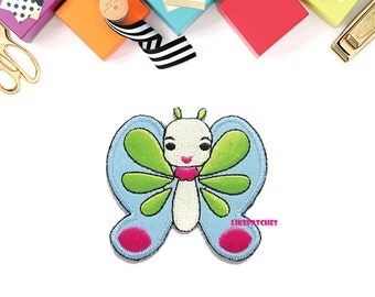 Blue Butterfly Happy Smiley Face Cute Cartoon New Sew / Iron On Patch Embroidered Applique Size 6.3cm.x6cm.
