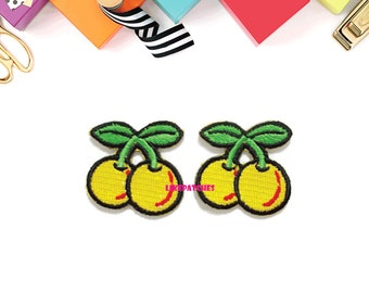 Set 2pcs. Little Couple Yellow Cherry Cute Patches - Fruit New Sew / Iron On Patch Embroidered Applique Size 3.3cm.x3.2cm.