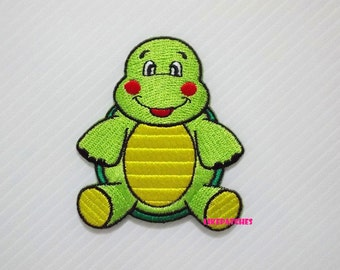 Green Turtle Cute Animal New Sew / Iron On Patch Embroidered Applique Size 6cm.x6.9cm.