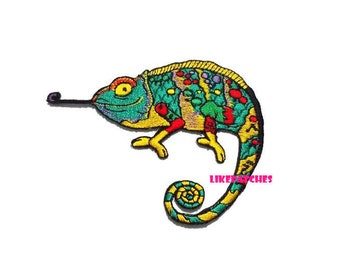Chameleon New Sew / Iron On Patch Embroidered Applique Size 10.4cm.x7.8cm.
